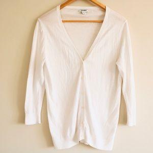Old Navy White Cardigan Sweater 3/4 Sleeve
